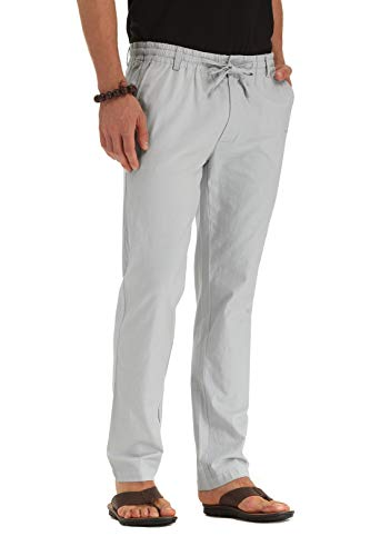 ZYFMAILY Men's Linen Drawstring Casual Beach Pant-Lightweight Summer Trousers Light Gray-US 36
