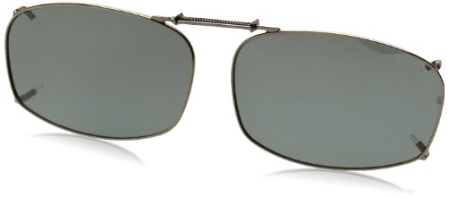 Solar Shield Clipon Rectangular 5 54 Polarized Sunglasses ,Gunmetal,54 mm