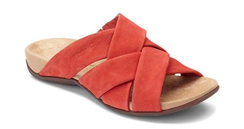 Vionic Womens Juno Slide Sandal, Cherry, Size 6.5 Wide
