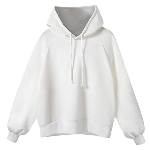 TOTOD Boutique Plus Size Hoodie Pullover Women's Long Lantern Sleeve Loose Oversized Thin Hooded Sweatshirt Outwear (White,XL)
