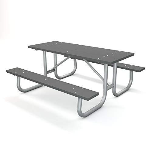 Frog Furnishings Galvanized Frame Picnic Table, 6', Gray
