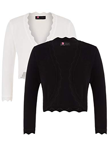 (Womens Dressy Blazers Open Front Knit Shrugs for Party (XXL,Black&Ivory))