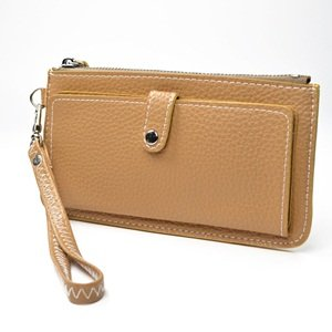 KLOUD ® Light Brown leather leechee pattern women clutch bag / wristlet wallet / purse / credit card holder case with an outer pocket plus KLOUD cleaning cloth, Bags Central