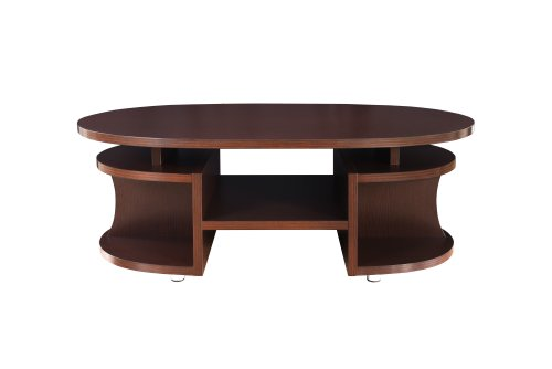 ioHOMES Reneto Open and Curved Coffee Table, Walnut Walnut Oval Coffee Table