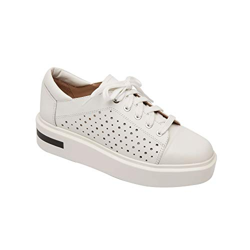 (Linea Paolo Kendra | Perforated Leather Lace-Up Platform Sneakers White Leather 8.5M)