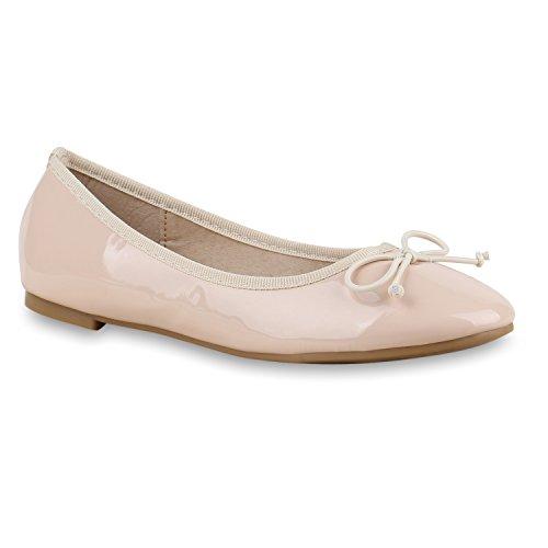 Stiefelparadies Klassische Damen Ballerinas Flats Leder-Optik Lack Metallic Schuhe Glitzer Slipper Slip Ons Übergrößen Abiball Flandell Lack Nude