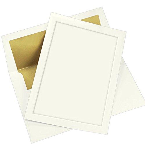 Gold Lined Ecru Envelope - Panel Invitation Kit, Ecru, Gold Lined Envelopes, 25 Pack