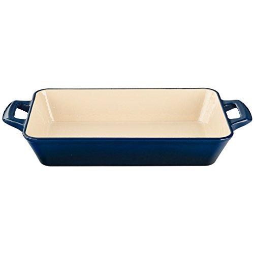 La Cuisine 3.9 Qt Enameled Cast Iron Deep Roasting Pan, Blue (Blue Enamel Roasting Pan compare prices)