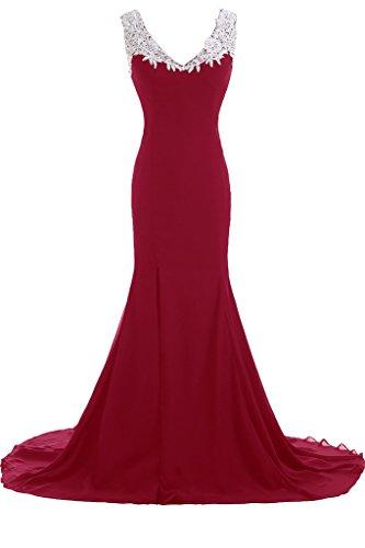 sera formale Burgundy a Vestito da lungo Sunvary abiti scollo Gowns Chic profondo V da donna xwFnZq0vH