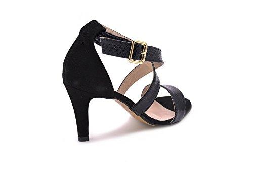 Conbuenpie by Almudena - Sandalia vestir piel mujer color Serpiente Negro