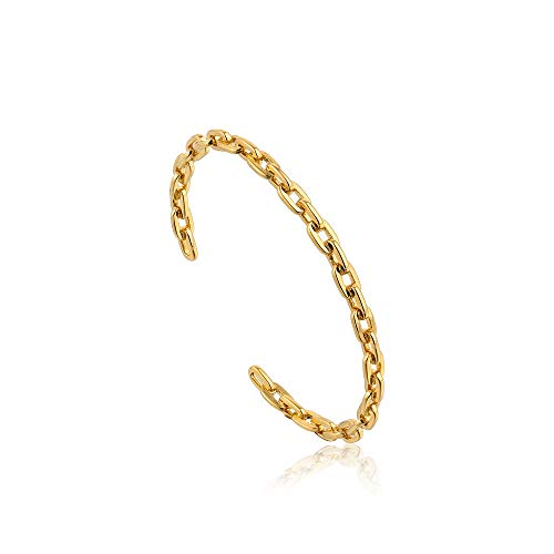 925 Sterling Silver Stackable Cool Open Chain Link Bangle Bracelet Cuff for Women, 14K Gold Plated