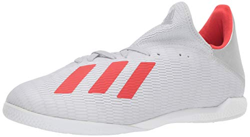adidas Men's X 19.3 Indoor Soccer Shoe, Silver Metallic/hi-res red/White, 10.5 M US