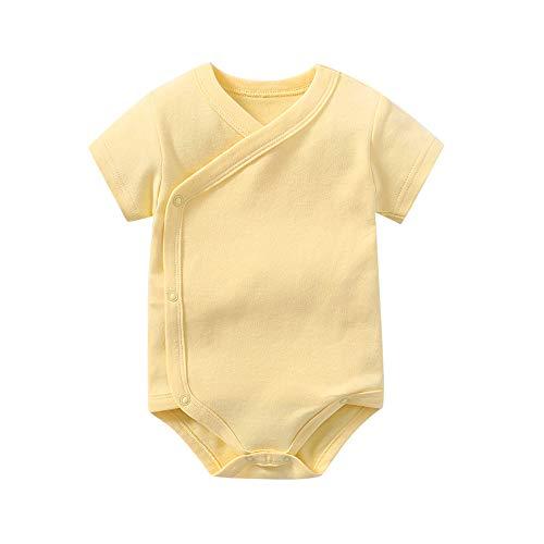 Newborn Unisex Baby 100% Cotton Short-Sleeve Kimono Onesies Side Snap Bodysuit