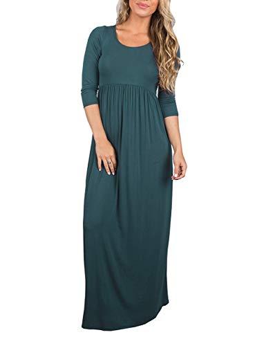 DUNEA Women's Maxi Dress Floral Printed Autumn 3/4 Sleeve Casual Tunic Long Maxi Dress (Medium, Teal)