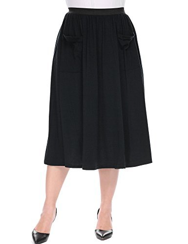 IN'VOLAND Women's Plus Size Skirt High Waist Flared Skirt Pleated Midi Skirt with (24w Skirt)