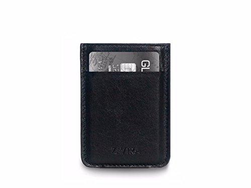 b8b3dd6c3525 ZAVTRA Premium Men Minimalistic Slim Natural Leather Wallet Front Pocket  Card Holder (Black) by