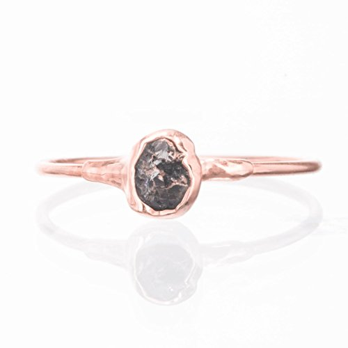 Stackable Raw Black Diamond Ring, Size 5, Rose Gold