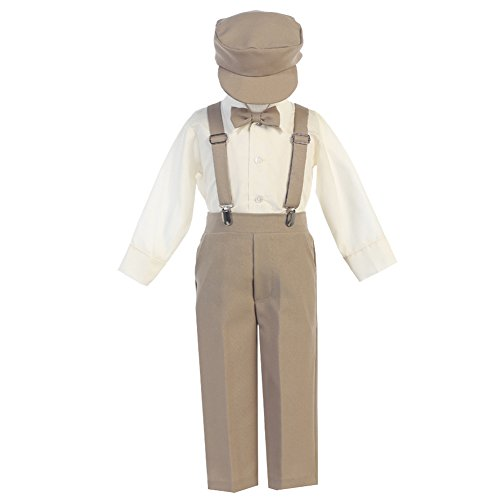 Boys Suspender Pant Set With Hat (4T, -