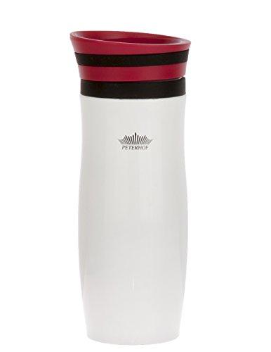 Travel Mug Vakuum Isoliert, Edelstahl, hält warm und kalt Kaffee/Tee Getränke, Einhandbedienung (400ml), Edelstahl, rot, 8x21