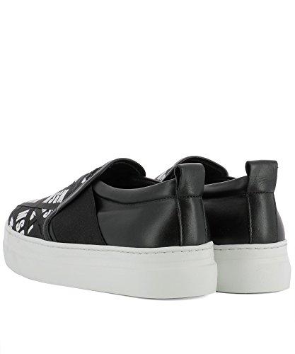 Msgm Damen 2441mds04010 Zwart Leder Slip Op Sneakers