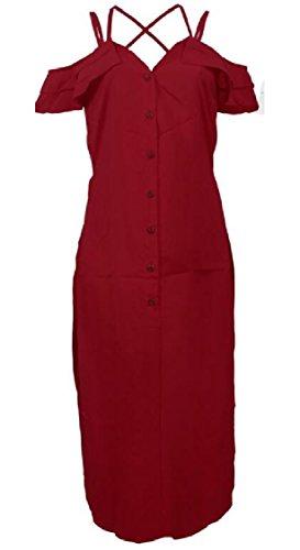 Side Dress Cross Split Women Jaycargogo Criss 2 Cold Casual Tops Shoulder 4w8xAqBY