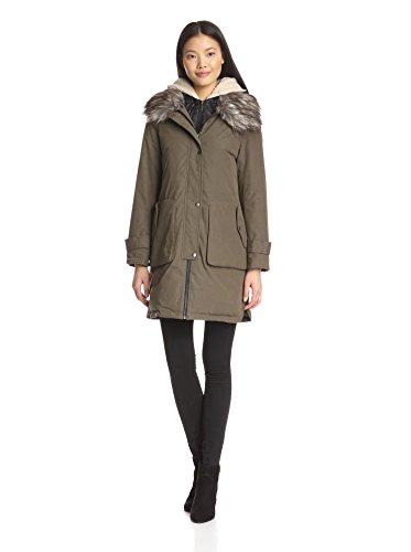 Bernardo Women's Down Coat w/ Faux Fur,Dark Olive, Size L...