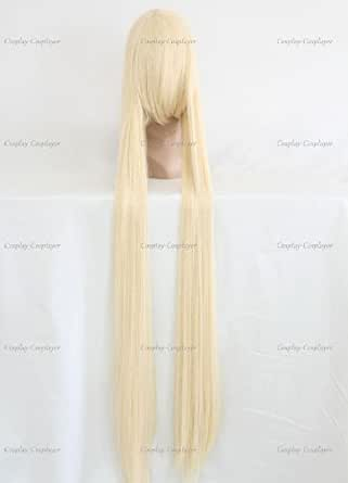 CosplayerWorld Cosplay Wigs Chobits Chii Wig For Convention Party Show White Color130cm 450g WIG-066A