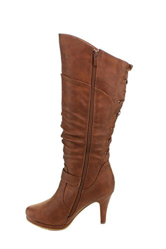 TOP Moda Women's Knee Lace-up High Heel Boots Premier Tan - Boots Womens Knee High Heel