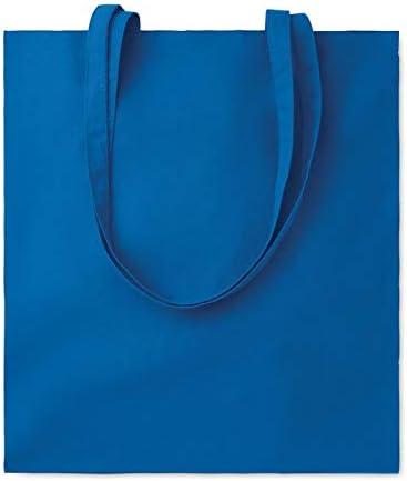 Publiclick® Lote 25 unidades Bolsa compra asas largas COTT azul real,Medidas 38X0,2X42 CM,Bolsa de la compra de algodón con asas largas. 105 gr/m2.: Amazon.es: Hogar