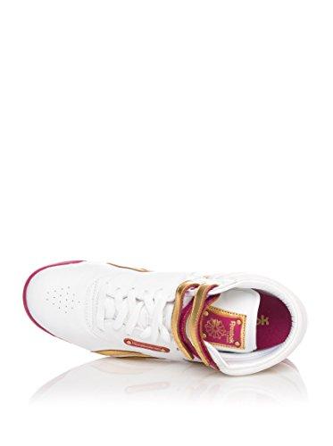 Reebok Zapatillas abotinadas Freestyle Hi Guilded Update Blanco / Dorado / Rosa EU 35.5 (US 5.5)
