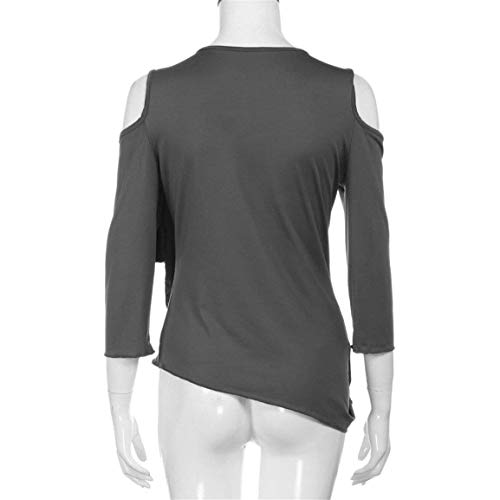 Manches 4 Tops Shoulder Haut 3 Asymmetric Bouffant Off Top Casual Shirts Splicing lgant Grau Automne Tshirt Unicolore Femme Tunique qqFY8S