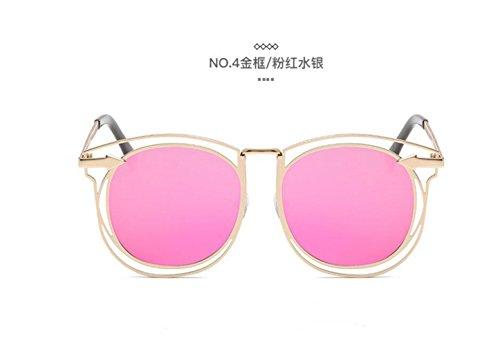 frame sol LSHGYJ color GLSYJ de retro mercury pink de gafas Metal sol flecha moda Gold sol de gafas gafas doble círculo en películas tendencias las de AFA6q0gwr
