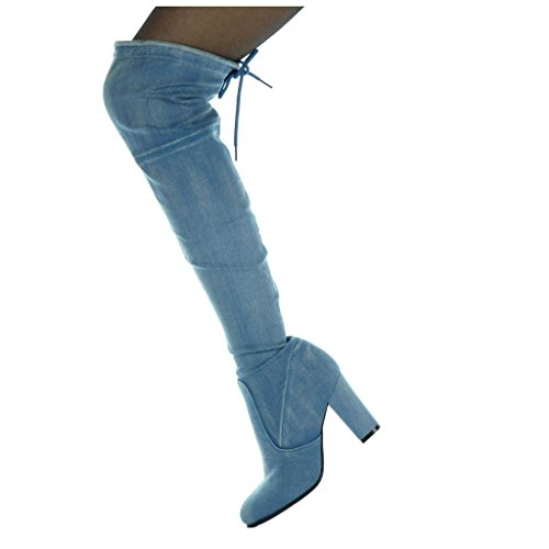 high cavalier Women's soft 8 Block Denim 5 Shoes heel Boot Fashion Jeans Angkorly Thigh CM Blue nvpxRX44wq