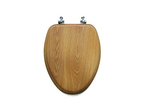 Price comparison product image SUNSTONE INTERNATIONAL 19-OAK-CH Oak Elongated Toilet Seat with Chrome Hinges