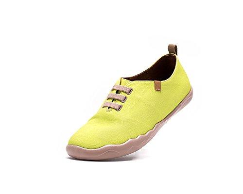 Uin Hombres Amarillo Claro Puro Color Zapato De Lona Amarillo