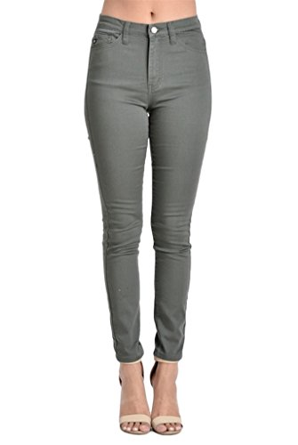Kan Can Women's High Rise Skinny Jeans (11, Olive)