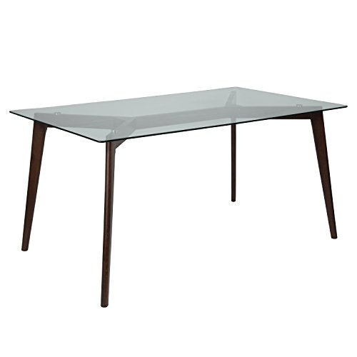 (Flash Furniture Parkside 35.25'' x 59'' Solid Espresso Wood Table with Clear Glass Top)