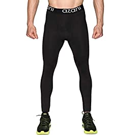 Azani Mens Compression Tights. Sports Baselayer Leggings. Ideal for Running, Gym, Cycling, Yoga & More. Cool Dry…