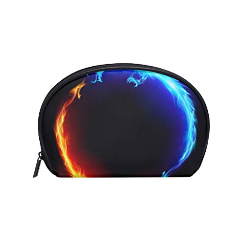 Makeup Bag Cosmetic Pouch Clutch Dragon Ring Circle Ice Fire zipper