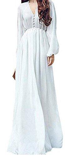 SHFZ Women's Elegant White Long Sleeve Casual Loose Chiffon Dress (Asia M/US (Sexy White Dress Long Sleeve)