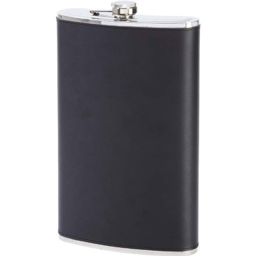 Maxam KTFLKL64 Maxam 64oz Jumbo Stainless Steel Flask With Genuine Leather - Wrap Flask Stainless Leather Steel