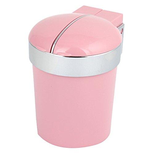 9.5 x 8.5cm Cylinder Shape Cigarette Holder Ashtray Case Pink for Car