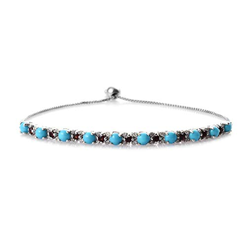 Bolo Bracelet 925 Sterling Silver Platinum Plated Sleeping Beauty Turquoise Garnet Jewelry for Women Adjustable
