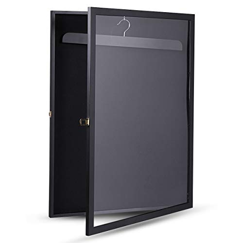 betterhomechoice Black Sports Jersey Frame Box Wall Display/Case Rack Frame Locable (Black)