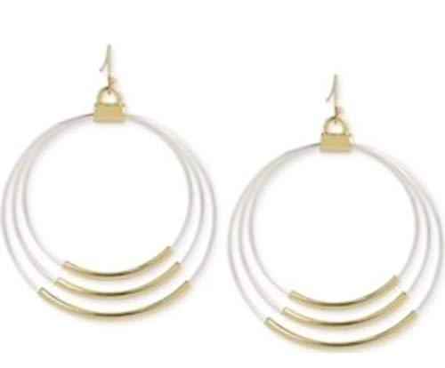 Inc International Hint of Gold Two-Tone Gypsy Hoop Earrings in 14k Gold-Plates and Silver-Plated Metal 14k Gold Gypsy Hoop Earrings