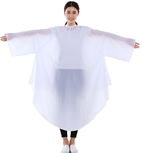 Professional Salon Client Hair Cutting Cape Gown , Barber Haircut Cape with Sleeves -White by Perfehair