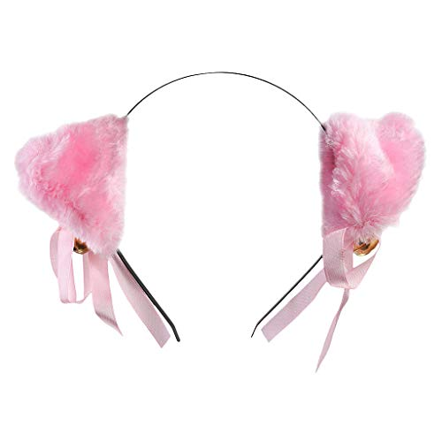 Fashion Lovely Animal Cosplay Cat Ear Headband with Bell Pink New