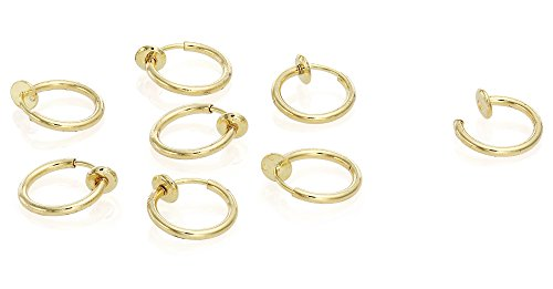 Stainless Steel Small 4 pair Endless Hoop Earrings, Non-piercing, Cartilage, Nose, and Lips, 2mm (10mm), By Regetta Jewelry