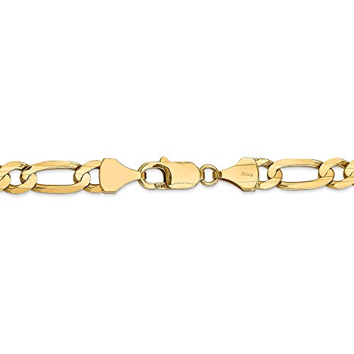 7.5 mm 14k Yellow Gold Concave Open Figaro Chain Bracelet - 8 Inch
