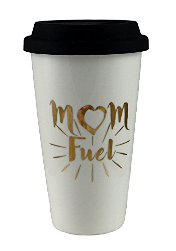 Mom Fuel Heart Gold-colored Plated Travel Mug with Lid